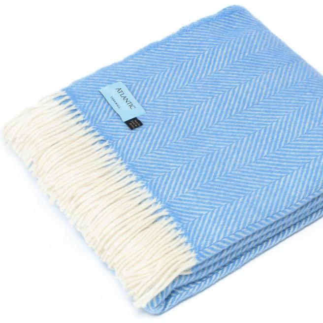 Gifts for a Beach Hut Fan - Atlantic Blanket Sea Blue Herringbone throw