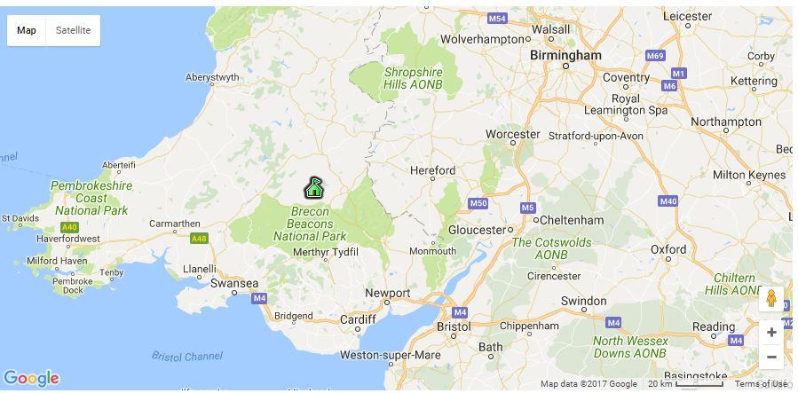 Brecon Retreat Map of Location