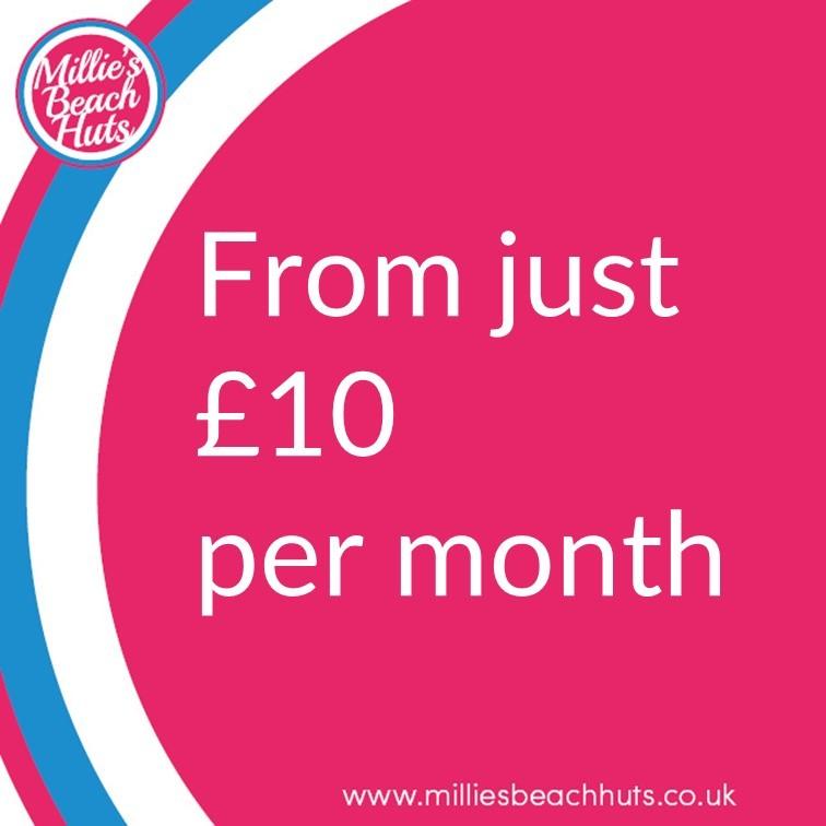 Millie's Beach Hut Club Beach Hut Hire Starting at £10 per month