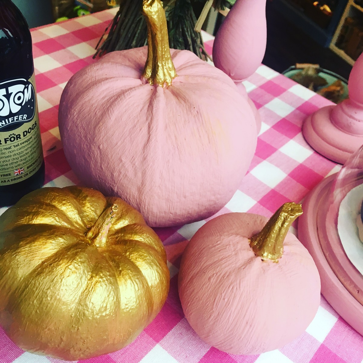 Pink and gold pumpkins