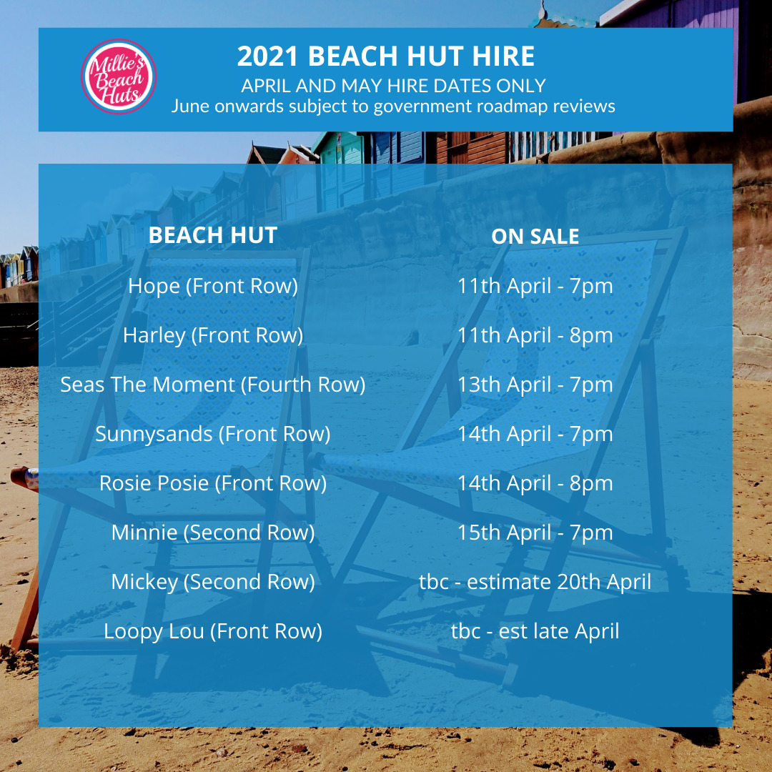 millies-beach-hut-hire-2021-dates-prices